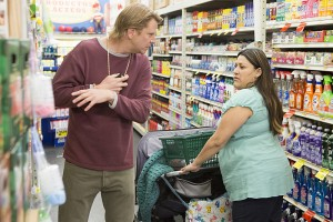 Bunchy realizes he can solve his problem when he sees this woman at the market.