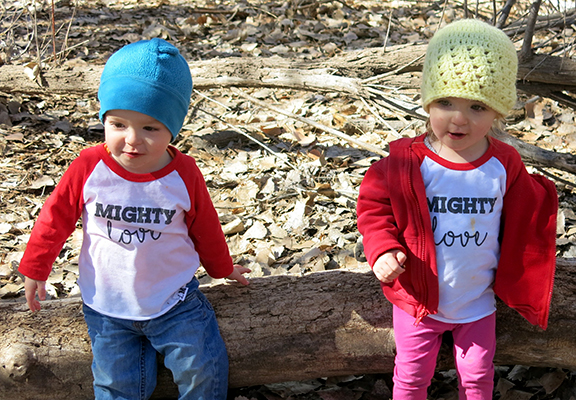 Rocking matching Mighty Love shirts while adventuring in the Bosque.