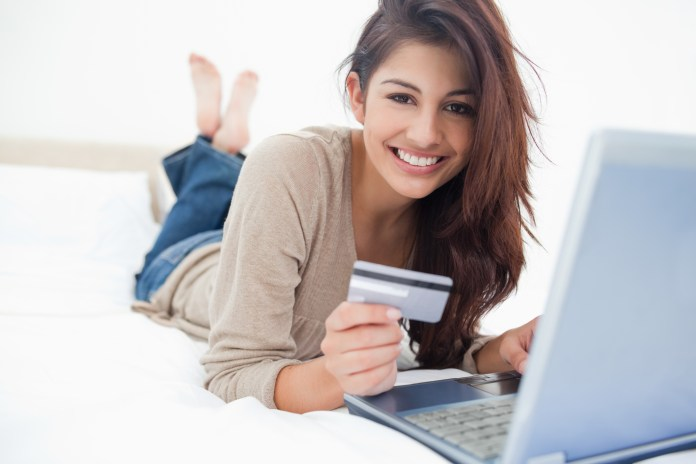 College student with credit card