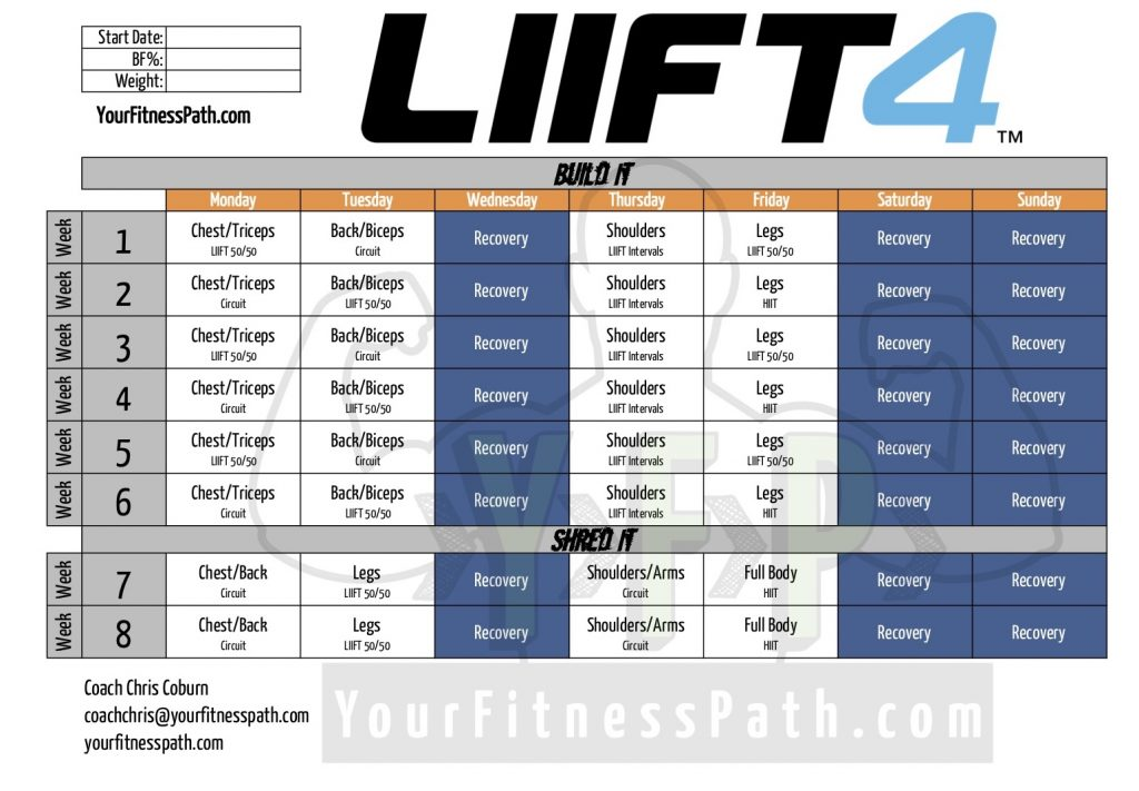 Download the LIIFT4 Workout Calendar - Your Fitness Path