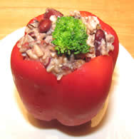 stuffed pepper with rice and beans