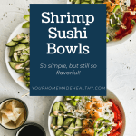 3 shrimp poke bowls in white bowls with a side of soy sauce and ginger