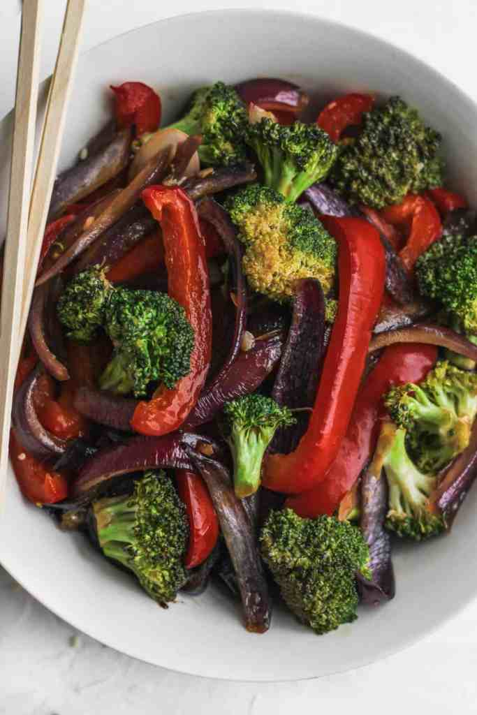 A bowl of stir fried veggies.