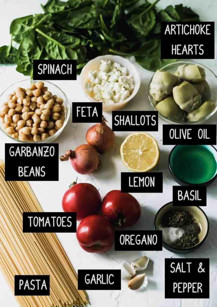 Labelled ingredients for mediterranean pasta (see recipe for details.)