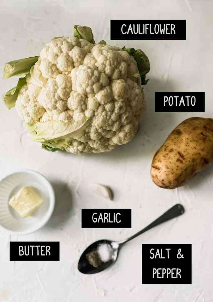 Labelled ingredients for healthy cauliflower mashed potatoes (see recipe for details).