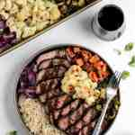 Glazed balsamic steak and veggie bowls with red wine and balsamic glaze in a white dish.