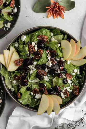Cranberry apple salad in a black bowl with feta and slices of apples on top.