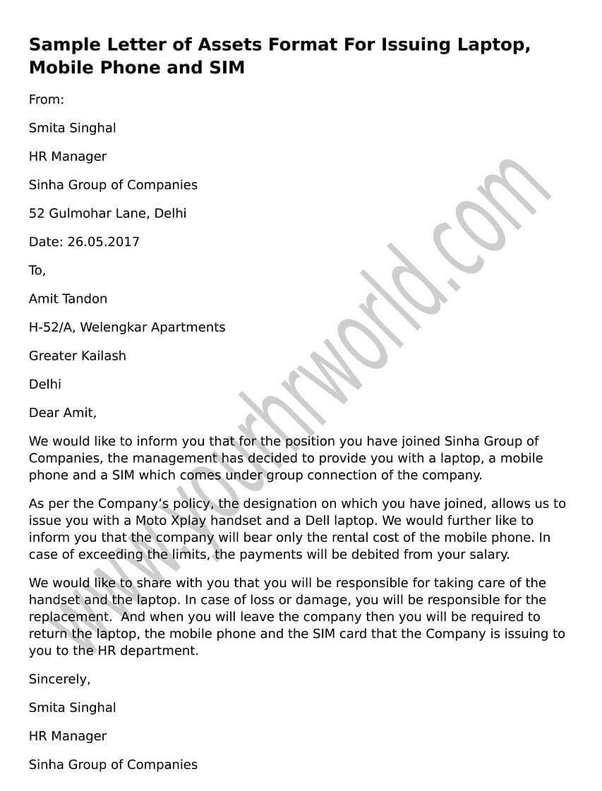 » Sample Letter Of Assets Format For Issuing Laptop
