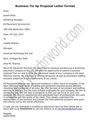 » Business Tie Up Proposal Letter Format
