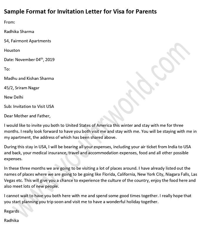 sample invitation letter for visitor