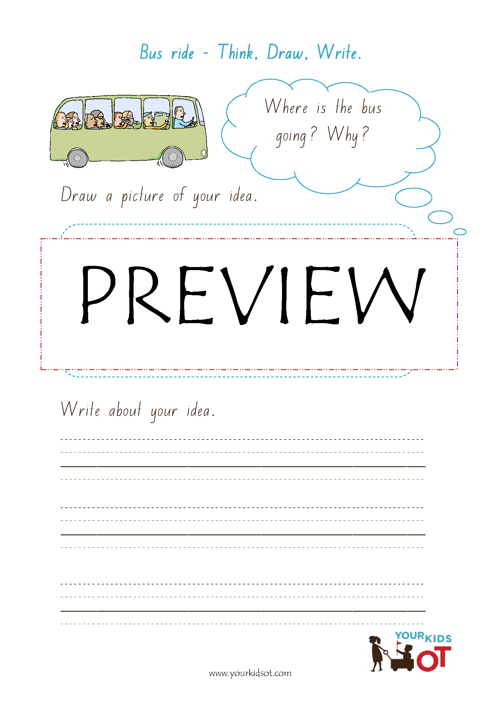 Think Draw Write Sentence Writing Prompt Worksheet
