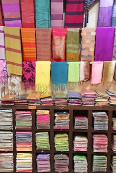 Gorgeous silk scarves and cushions at Ananya