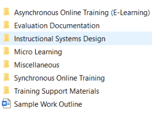 screenshot of file folders I use for my offline portfolio when applying for a learning and development job