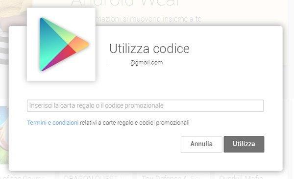 Google Play Carte Regalo Utilizzo 1