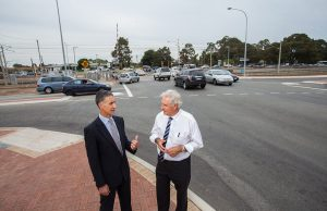 Member for Armadale Tony Buti and Federal Member for Canning Don Randall at Denny Avenue on Monday. Photograph — Matt Devlin.