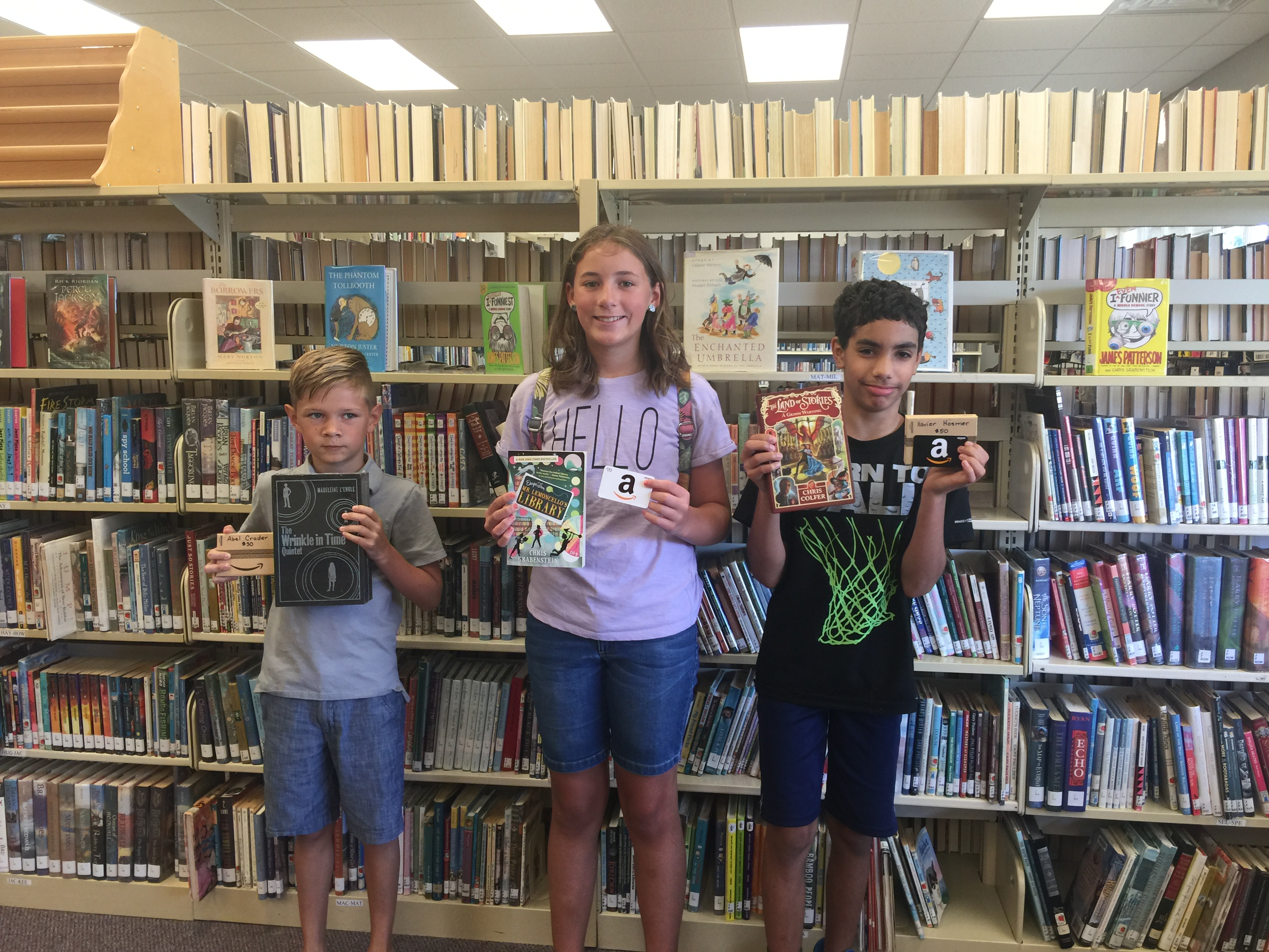 Summer Reading contest winners for 6th to 8th grade