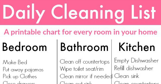 Daily Cleaning List to clean every room Free Printable  Your Modern Family