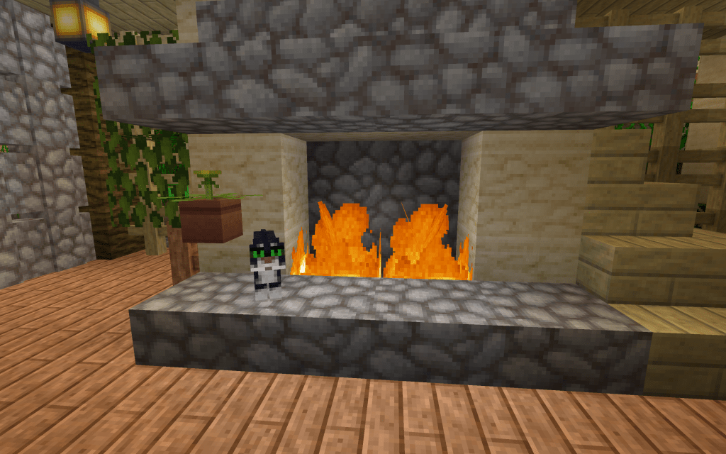 Minecraft cats by the fire