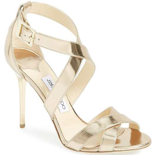 """Jimmy Choo """"Lottie"""" Sandals in Gold Mirrored Leather"""