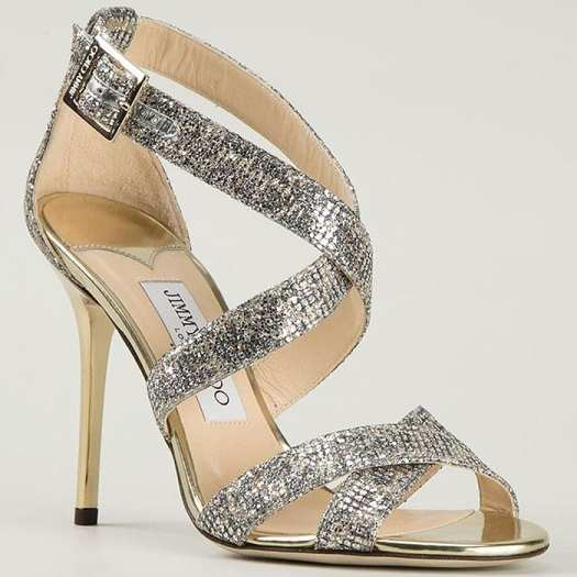 """Jimmy Choo """"Lottie"""" Sandals in Gold-and-Silver Lamé Glitter"""