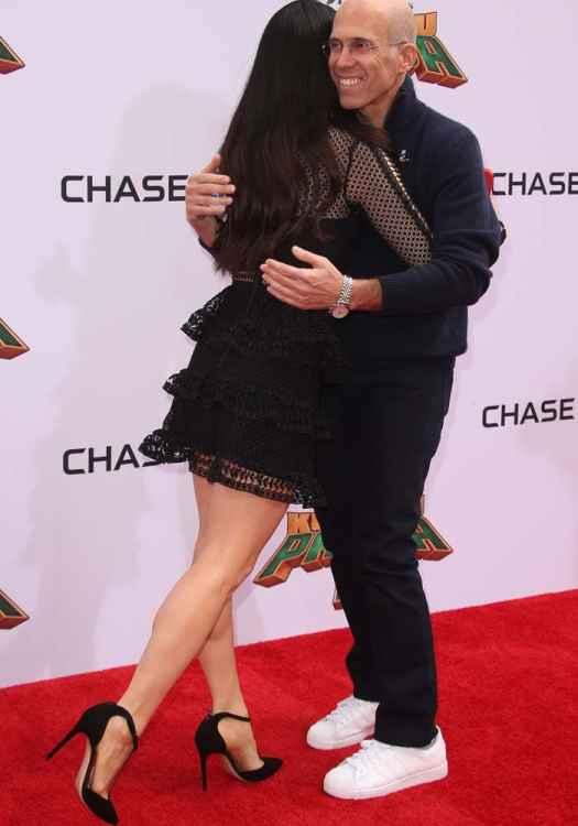 "Lucy Liu and American film executive Jeffrey Katzenberg at the world premiere of ""Kung Fu Panda 3"""