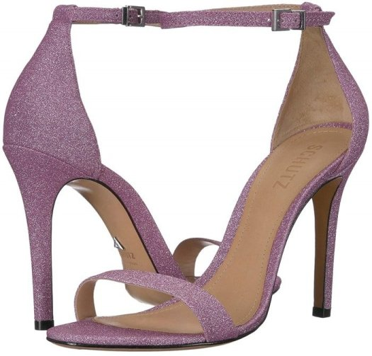 An elegant high-heel sandal features simple styling and a slim ankle strap