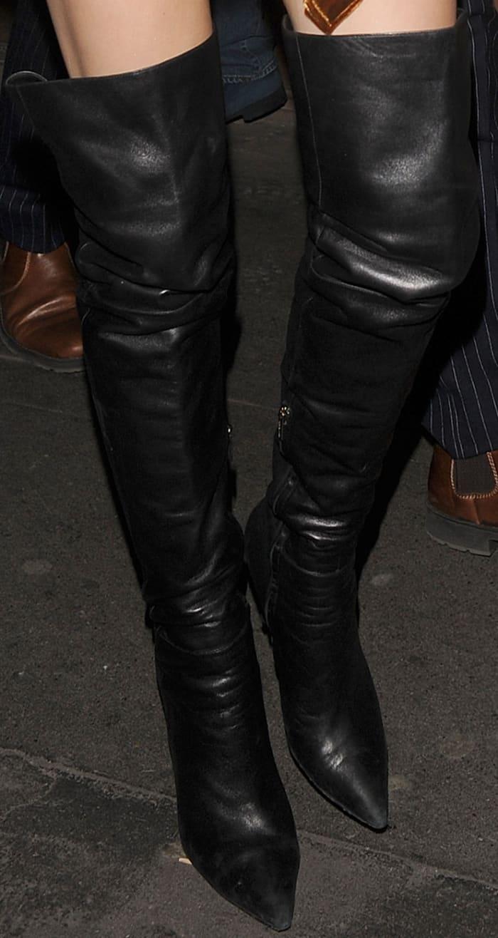 Kendall Jenner Goes Disco In Gold Velvet Dress And Black