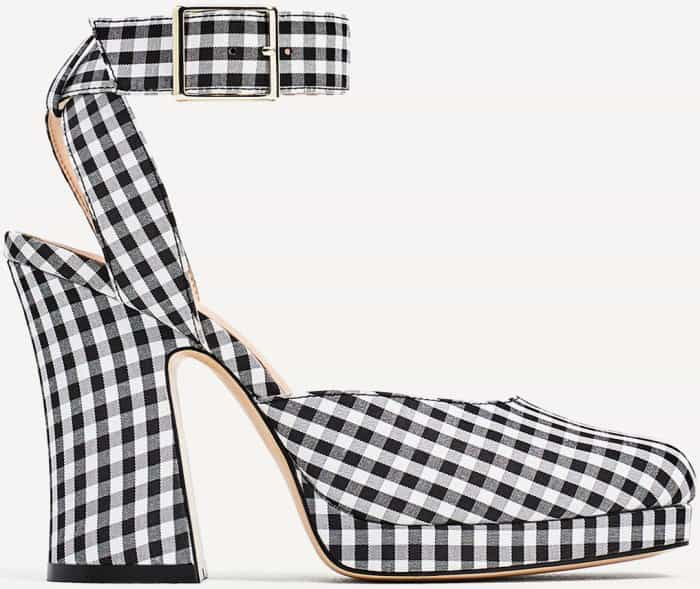 Bella Hadid Charms in Saint Laurent Pumps and Zara Gingham