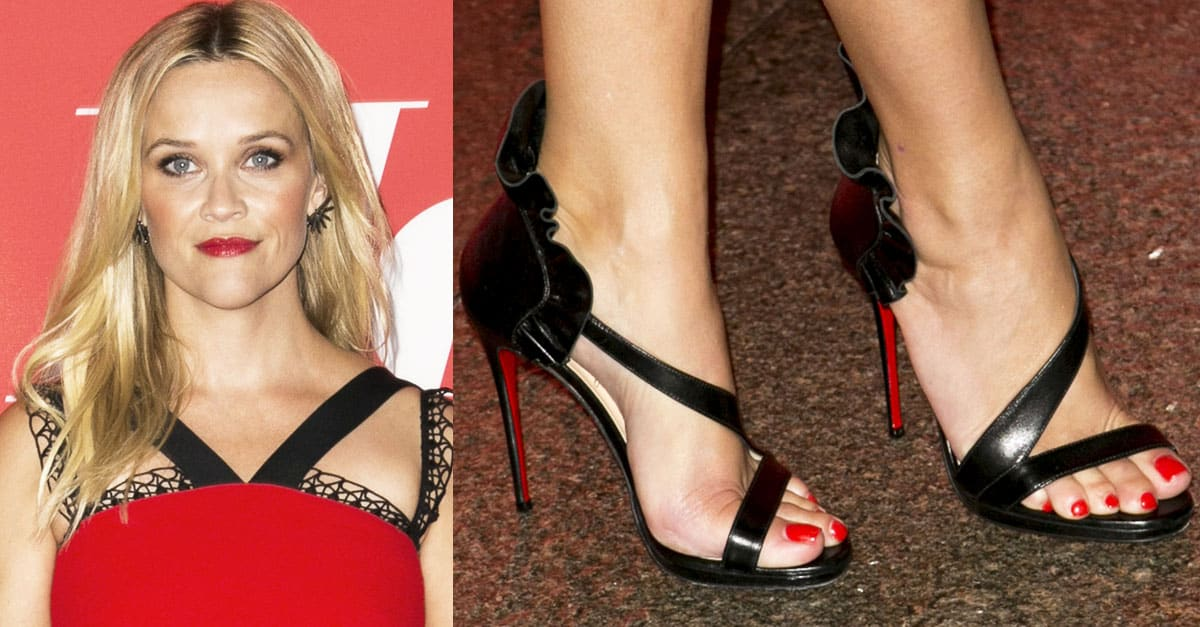 Reese Witherspoon Red Hot in Christian Louboutin Colankle