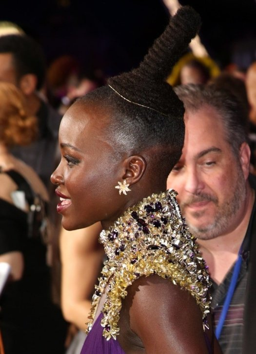 Lupita Nyong'o wore her long hair up in a chic top bun