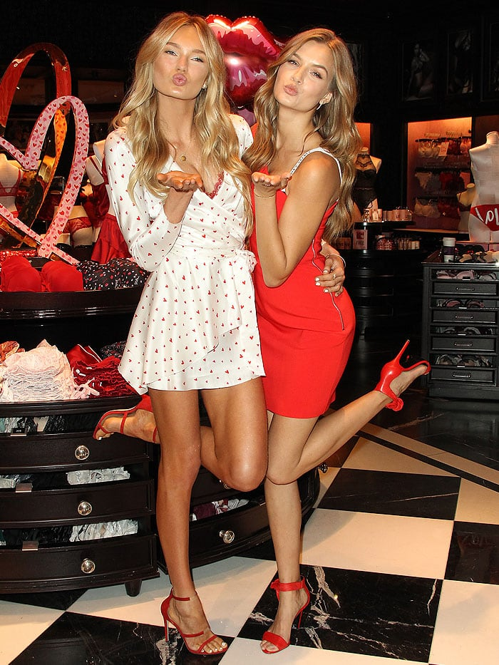 Romee Strijd And Josephine Skriver In Red Heels For Valentines Day