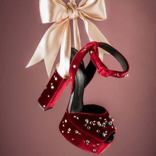 These burgundy and silver-toned velvet and leather embellished plaform sandals are a wardrobe must-have and feature a platform sole, an open toe, a chunky high heel, silver-tone stud detailing and an ankle strap with a side buckle fastening