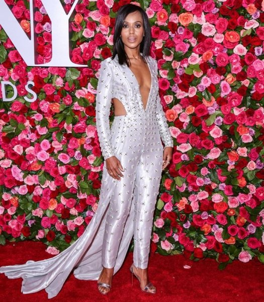 Kerry Washington sizzled in a silver lamé Atelier Versace jumpsuit featuring side cutouts, crystal embellishments, and a floor-sweeping train