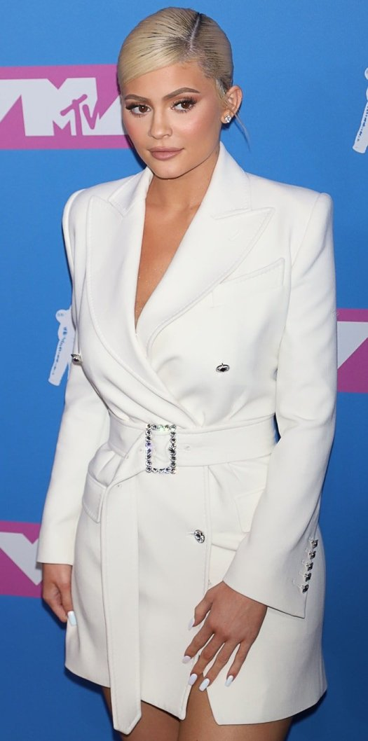 The world's youngest self-made billionaire, Kylie Jenner, donned a white Tom Ford Fall 2018 RTW blazer dress