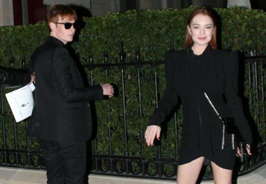 Lindsay Lohan and Dakota Lohan arriving back from the Saint Laurent show