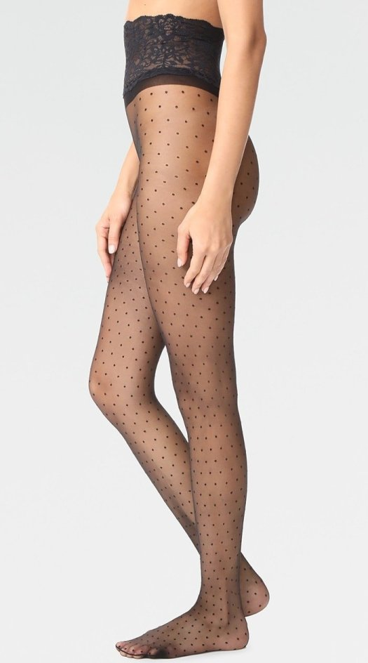 These sheer polka-dot Commando tights are fashioned with a sexy, smooth-fitting lace waistband.