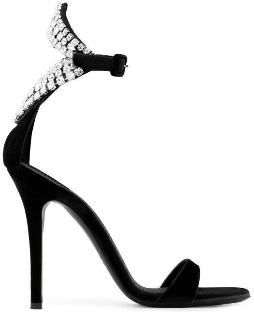 Black Velvet Sandals With Crystals