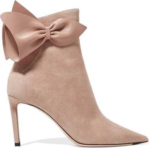 Ballet Pink Leather-Trimmed Suede Kassidy Boots