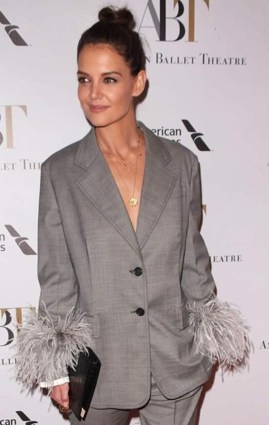 Katie Holmes wearingatwo-button blazer from Prada