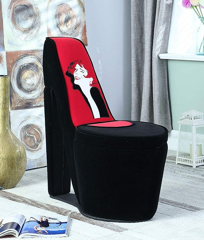 high heel shoe furniture chair wheelchair kid big mouth chairs latest home trend for the obsessed graphic print