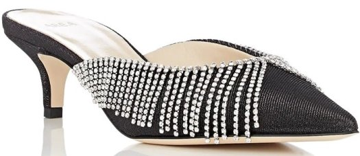 AREA Crystal-Embellished Lame Mules