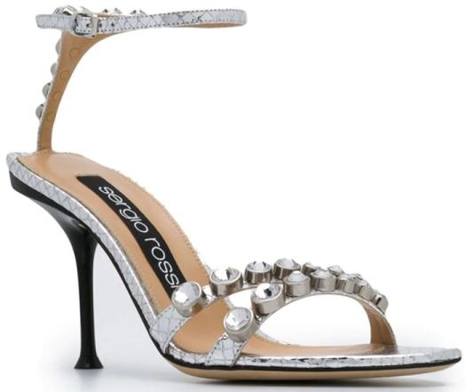 737c5078dfe3 These silver-tone leather crystal embellished sandals feature an open toe