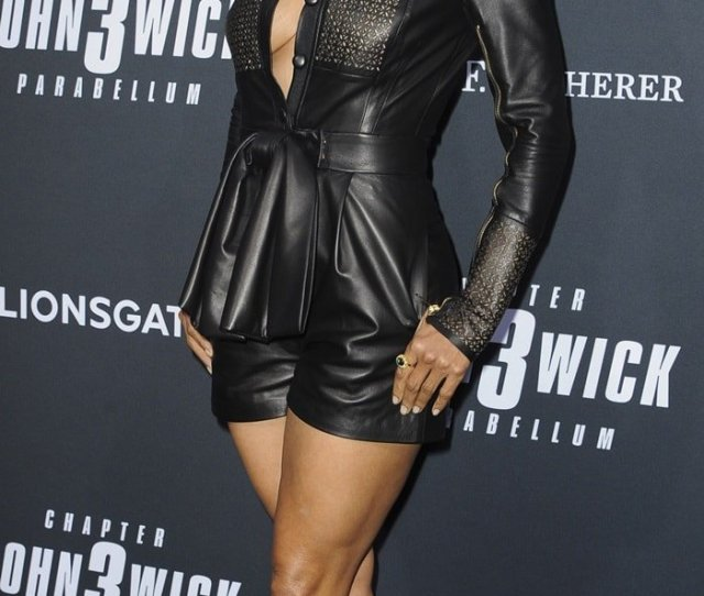 Halle Berrys Sexy Legs In Black Leather Romper And Liana Sandals