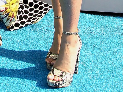 Aldo Paeria python-print platform sandals on Emily Osment