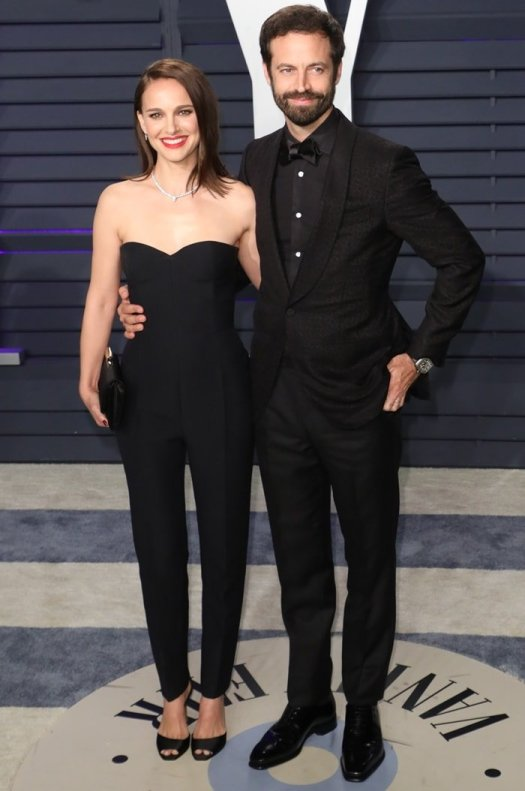 Natalie Portman and husband Benjamin Millepied at the 2019 Vanity Fair Oscar Party