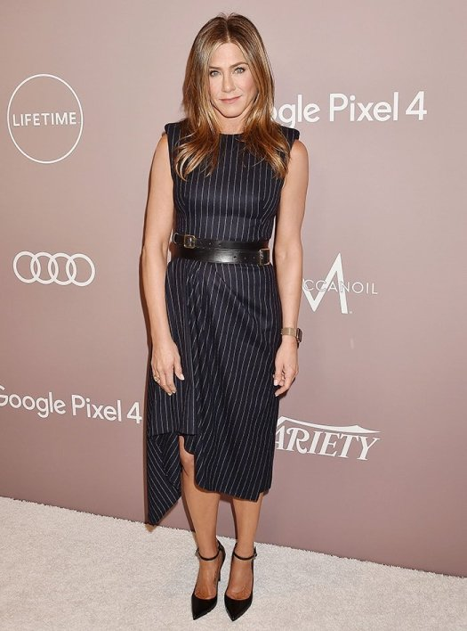 Jennifer Aniston goes business chic at Variety's Power of Women luncheon held at the Beverly Wilshire Four Seasons in Los Angeles on October 11, 2019