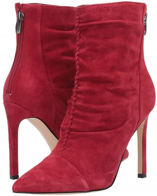 Take your style to the next level with this Tiaa ankle sock boot with a ruched leather upper and stiletto heel