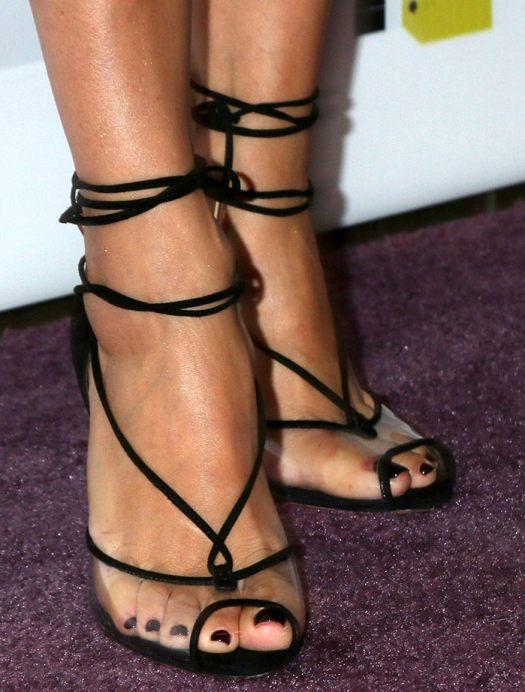 Eva Longoria shows off her pedicured toes in Aquazzura suede and PVC sandals