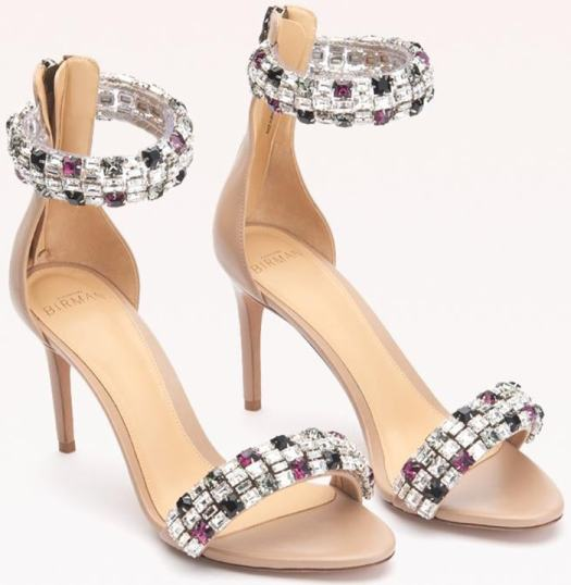 Colorful Swarovski crystals shine on this sandal, meticulously crafted from smooth leather with a back zipper