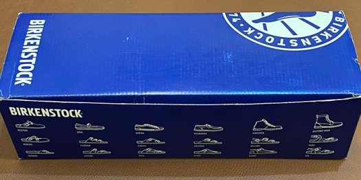 The front side of a Birkenstock box shows illustration of different Birk models